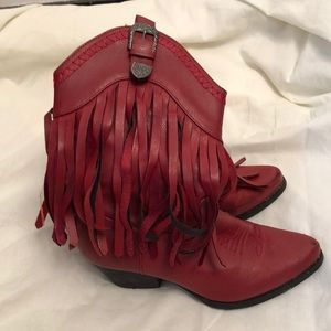 Pierre Dumas 8.5 red Fringe country cowgirl boots
